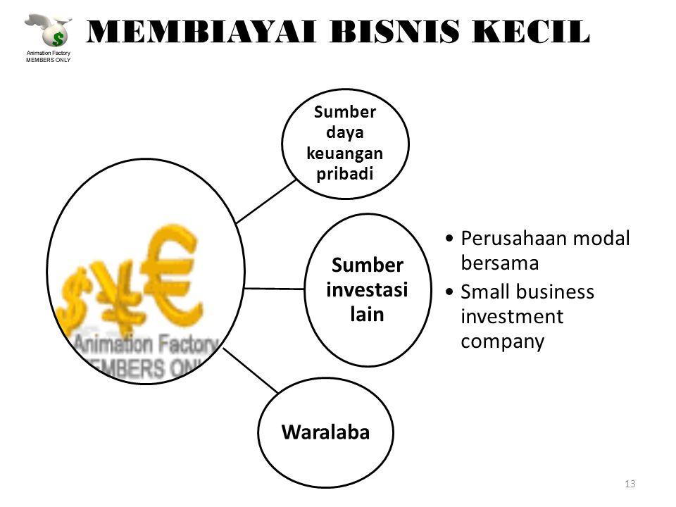 MEMBIAYAI BISNIS KECIL Sumber daya keuangan pribadi Sumber investasi lain Perusahaan modal bersama Small business investment company Waralaba 13