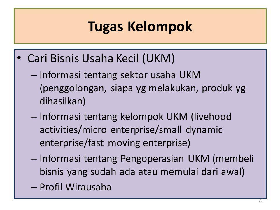 Tugas Kelompok Cari Bisnis Usaha Kecil (UKM) – Informasi tentang sektor usaha UKM (penggolongan, siapa yg melakukan, produk yg dihasilkan) – Informasi