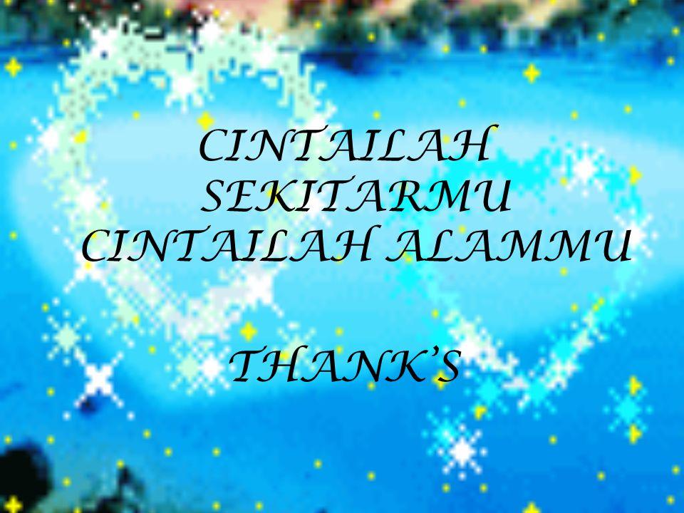CINTAILAH SEKITARMU CINTAILAH ALAMMU THANK'S