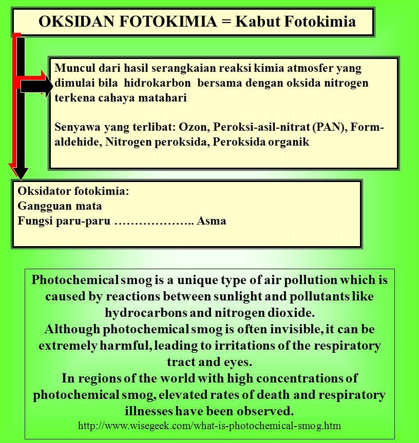 OKSIDAN FOTOKIMIA = Kabut Fotokimia Muncul dari hasil serangkaian reaksi kimia atmosfer yang dimulai bila hidrokarbon bersama dengan oksida nitrogen terkena cahaya matahari Senyawa yang terlibat: Ozon, Peroksi-asil-nitrat (PAN), Form- aldehide, Nitrogen peroksida, Peroksida organik Oksidator fotokimia: Gangguan mata Fungsi paru-paru ………………..