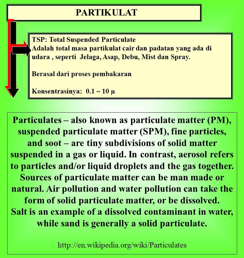 PARTIKULAT TSP: Total Suspended Particulate Adalah total masa partikulat cair dan padatan yang ada di udara, seperti Jelaga, Asap, Debu, Mist dan Spray.