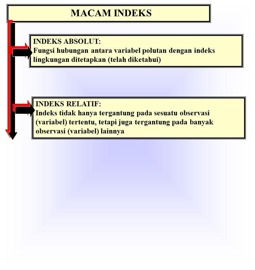 MACAM INDEKS INDEKS ABSOLUT: Fungsi hubungan antara variabel polutan dengan indeks lingkungan ditetapkan (telah diketahui) INDEKS RELATIF: Indeks tidak hanya tergantung pada sesuatu observasi (variabel) tertentu, tetapi juga tergantung pada banyak observasi (variabel) lainnya