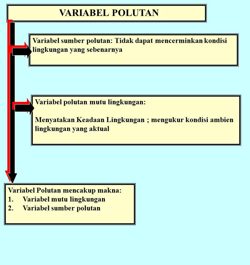 VARIABEL POLUTAN Variabel sumber polutan: Tidak dapat mencerminkan kondisi lingkungan yang sebenarnya Variabel Polutan mencakup makna: 1.Variabel mutu lingkungan 2.Variabel sumber polutan Variabel polutan mutu lingkungan: Menyatakan Keadaan Lingkungan ; mengukur kondisi ambien lingkungan yang aktual