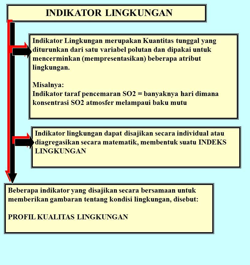 INDIKATOR LINGKUNGAN Indikator Lingkungan merupakan Kuantitas tunggal yang diturunkan dari satu variabel polutan dan dipakai untuk mencerminkan (mempresentasikan) beberapa atribut lingkungan.