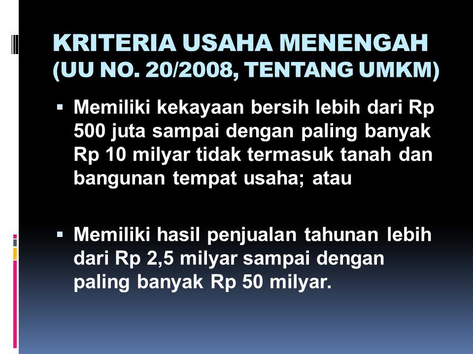 KRITERIA USAHA MENENGAH (UU NO. 20/2008, TENTANG UMKM)  Memiliki kekayaan bersih lebih dari Rp 500 juta sampai dengan paling banyak Rp 10 milyar tida
