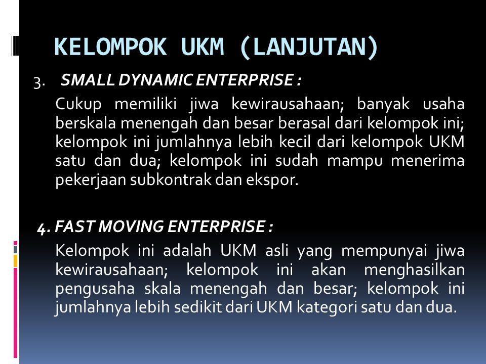KELOMPOK UKM (LANJUTAN) 3.SMALL DYNAMIC ENTERPRISE : Cukup memiliki jiwa kewirausahaan; banyak usaha berskala menengah dan besar berasal dari kelompok