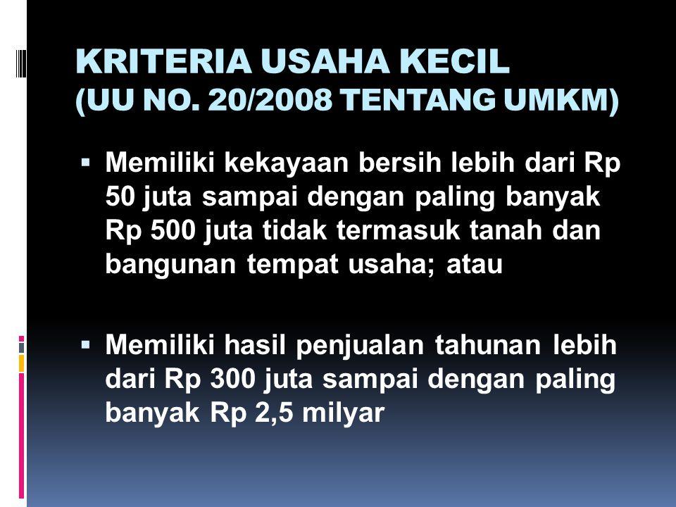 KRITERIA USAHA KECIL (UU NO. 20/2008 TENTANG UMKM)  Memiliki kekayaan bersih lebih dari Rp 50 juta sampai dengan paling banyak Rp 500 juta tidak term