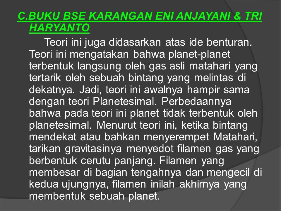 C.BUKU BSE KARANGAN ENI ANJAYANI & TRI HARYANTO Teori ini juga didasarkan atas ide benturan. Teori ini mengatakan bahwa planet-planet terbentuk langsu