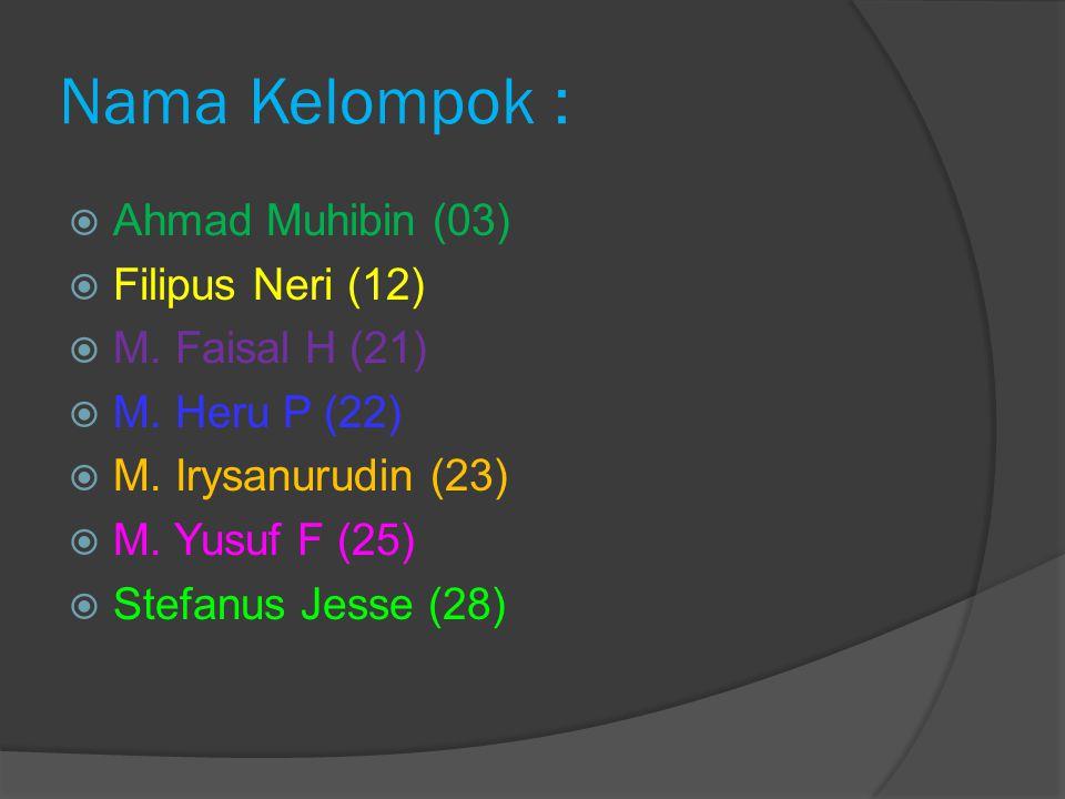 Nama Kelompok :  Ahmad Muhibin (03)  Filipus Neri (12)  M. Faisal H (21)  M. Heru P (22)  M. Irysanurudin (23)  M. Yusuf F (25)  Stefanus Jesse