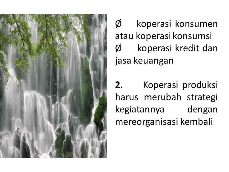 Ø koperasi konsumen atau koperasi konsumsi Ø koperasi kredit dan jasa keuangan 2. Koperasi produksi harus merubah strategi kegiatannya dengan mereorga