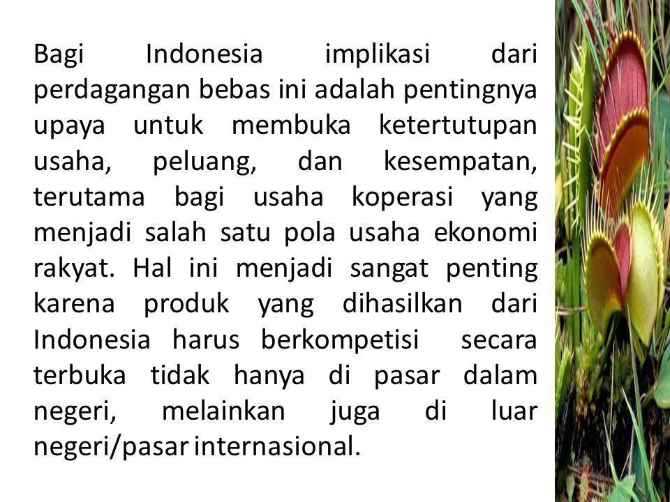 Bagi Indonesia implikasi dari perdagangan bebas ini adalah pentingnya upaya untuk membuka ketertutupan usaha, peluang, dan kesempatan, terutama bagi u