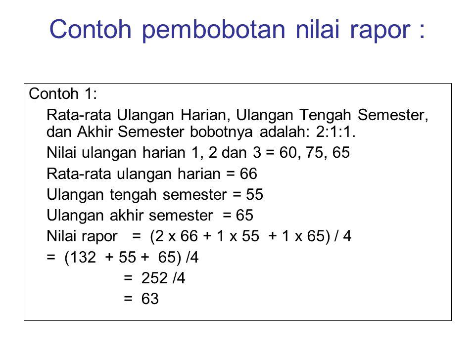 Contoh pembobotan nilai rapor : Contoh 1: Rata-rata Ulangan Harian, Ulangan Tengah Semester, dan Akhir Semester bobotnya adalah: 2:1:1. Nilai ulangan