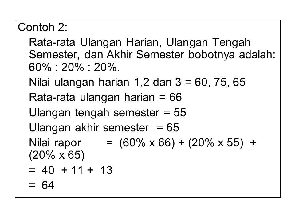 Contoh 2: Rata-rata Ulangan Harian, Ulangan Tengah Semester, dan Akhir Semester bobotnya adalah: 60% : 20% : 20%. Nilai ulangan harian 1,2 dan 3 = 60,