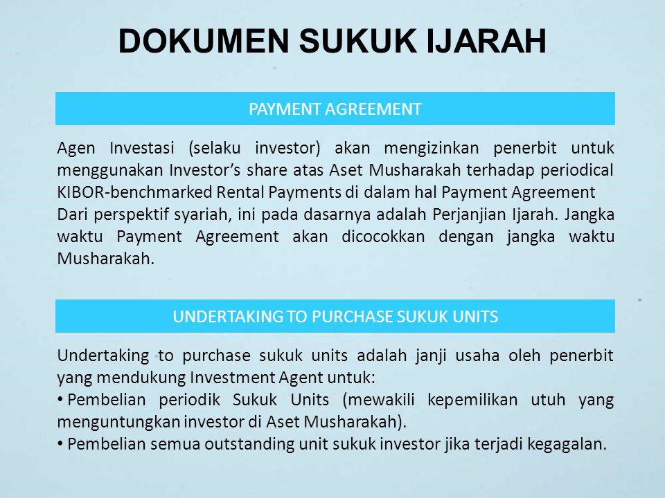 DOKUMEN SUKUK IJARAH PAYMENT AGREEMENT Agen Investasi (selaku investor) akan mengizinkan penerbit untuk menggunakan Investor's share atas Aset Mushara