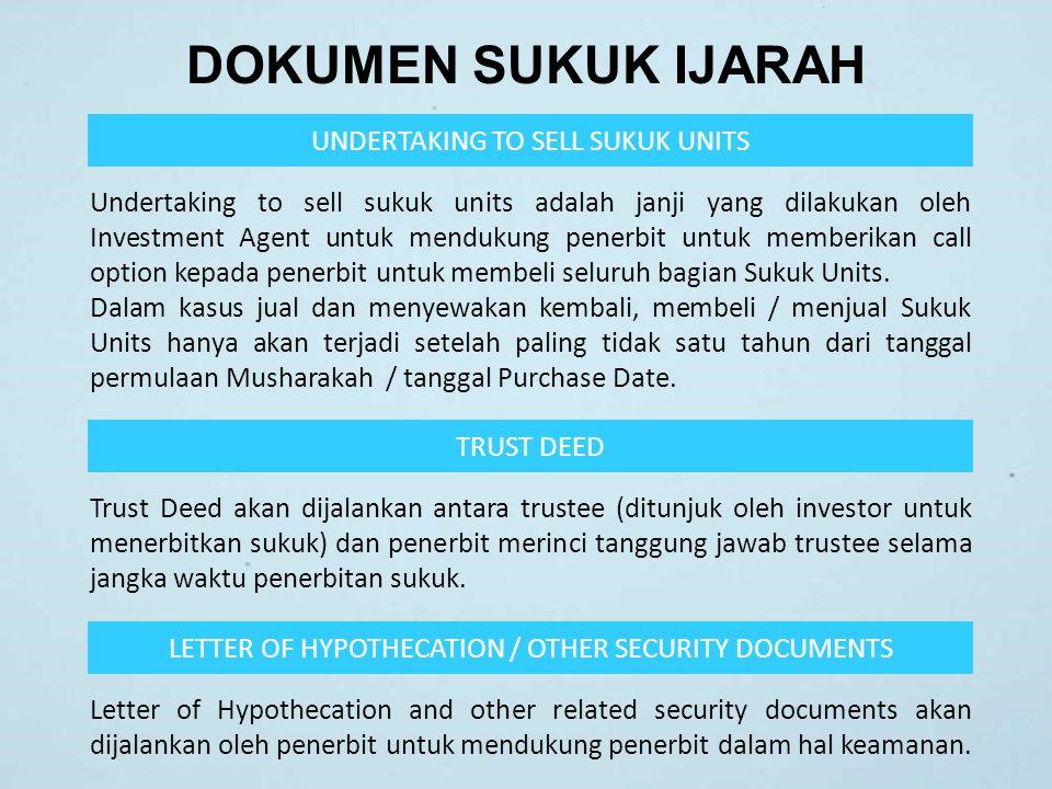 DOKUMEN SUKUK IJARAH TRUST DEED Trust Deed akan dijalankan antara trustee (ditunjuk oleh investor untuk menerbitkan sukuk) dan penerbit merinci tanggu