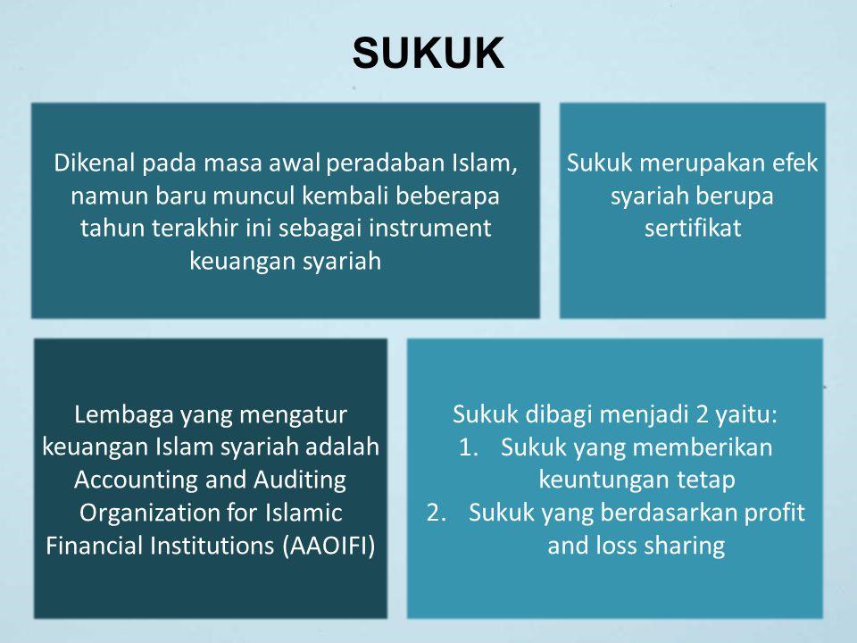 SUKUK Dikenal pada masa awal peradaban Islam, namun baru muncul kembali beberapa tahun terakhir ini sebagai instrument keuangan syariah Lembaga yang m