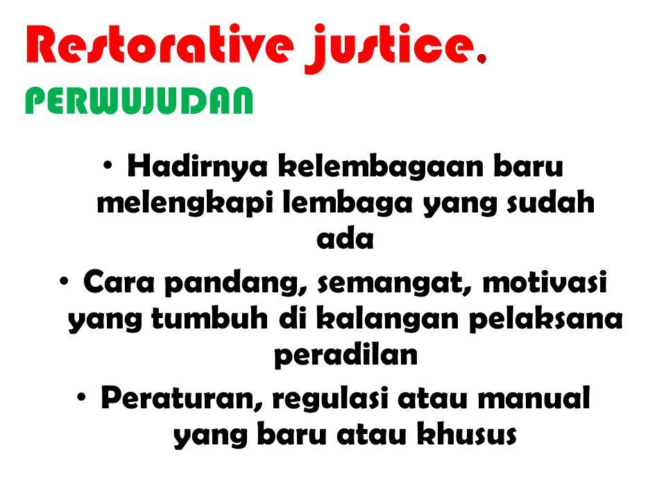 PERKEMBANGAN Paradigma Peradilan Retributive Justice Rehabilitative Justice Alternative Justice Transitional Justice Restorative Justice