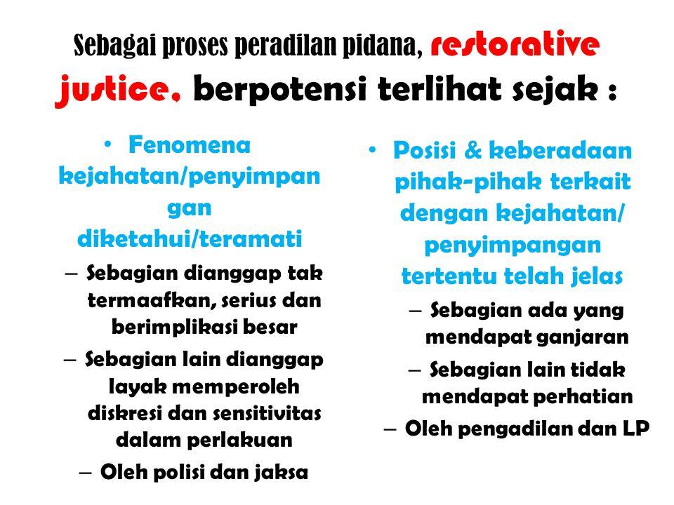 Restorative justice, PERWUJUDAN Hadirnya kelembagaan baru melengkapi lembaga yang sudah ada Cara pandang, semangat, motivasi yang tumbuh di kalangan pelaksana peradilan Peraturan, regulasi atau manual yang baru atau khusus