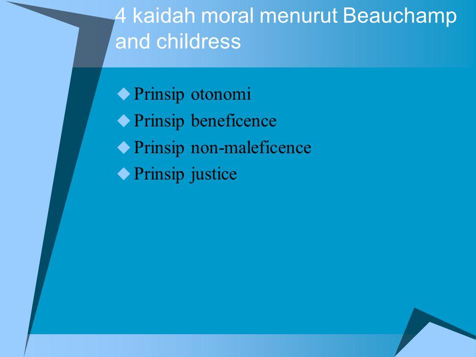 Etika klinik  Pembuatan keputusan etik terutama dalam situasi klinik dapat dilakukan pendekatan kaidah dasar moral  4 topik yang esensial dalam pelayanan klinik yaitu : 1.