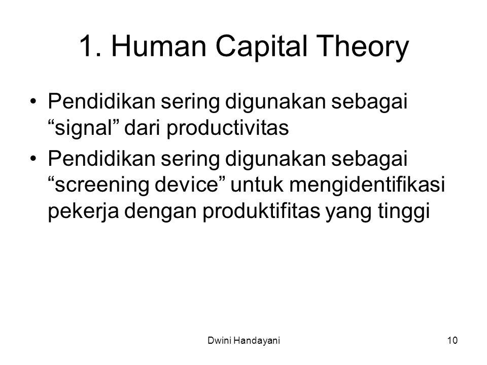 "1. Human Capital Theory Pendidikan sering digunakan sebagai ""signal"" dari productivitas Pendidikan sering digunakan sebagai ""screening device"" untuk m"