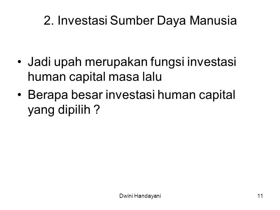 11 2. Investasi Sumber Daya Manusia Jadi upah merupakan fungsi investasi human capital masa lalu Berapa besar investasi human capital yang dipilih ? D