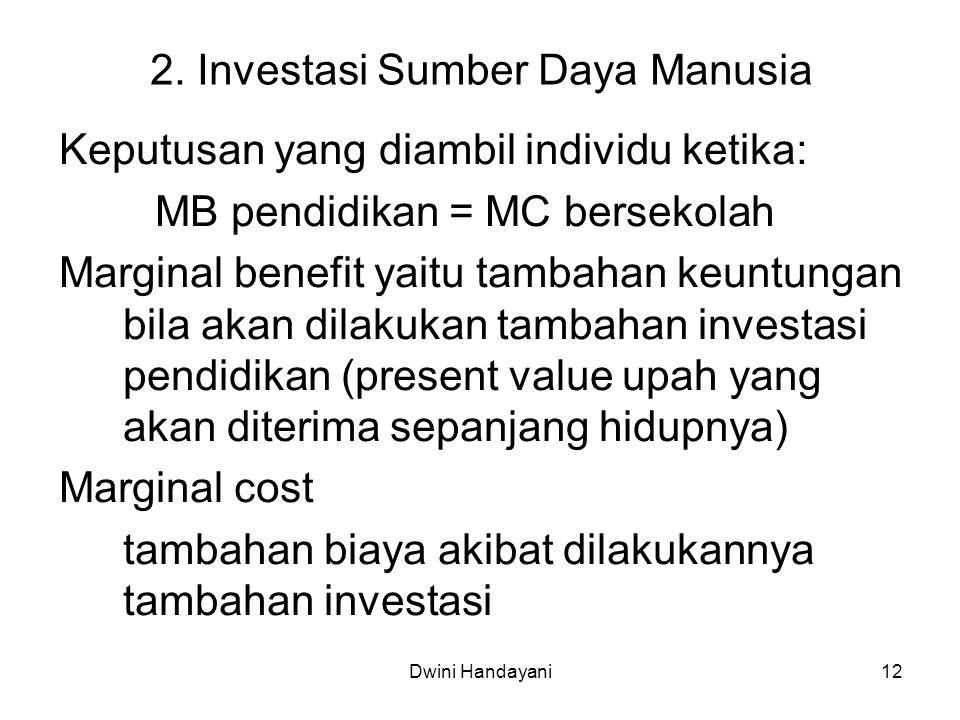 12 2. Investasi Sumber Daya Manusia Keputusan yang diambil individu ketika: MB pendidikan = MC bersekolah Marginal benefit yaitu tambahan keuntungan b