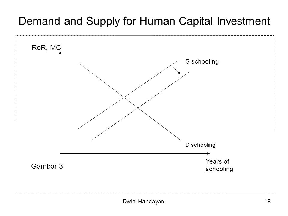 18 Demand and Supply for Human Capital Investment Years of schooling D schooling S schooling RoR, MC Gambar 3 Dwini Handayani