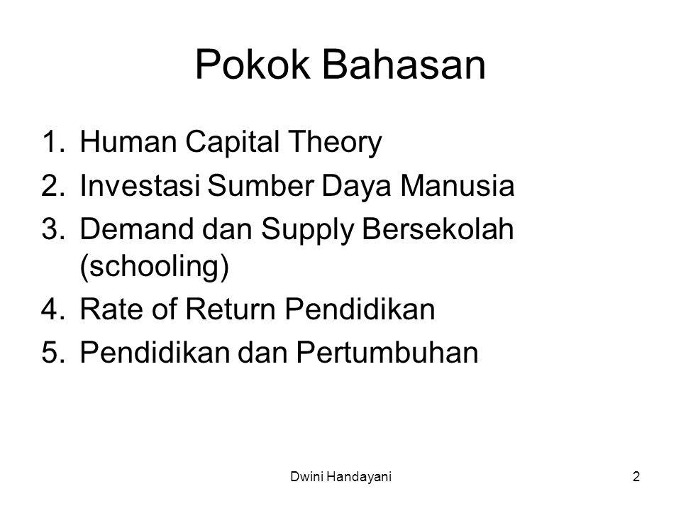 Pokok Bahasan 1.Human Capital Theory 2.Investasi Sumber Daya Manusia 3.Demand dan Supply Bersekolah (schooling) 4.Rate of Return Pendidikan 5.Pendidik
