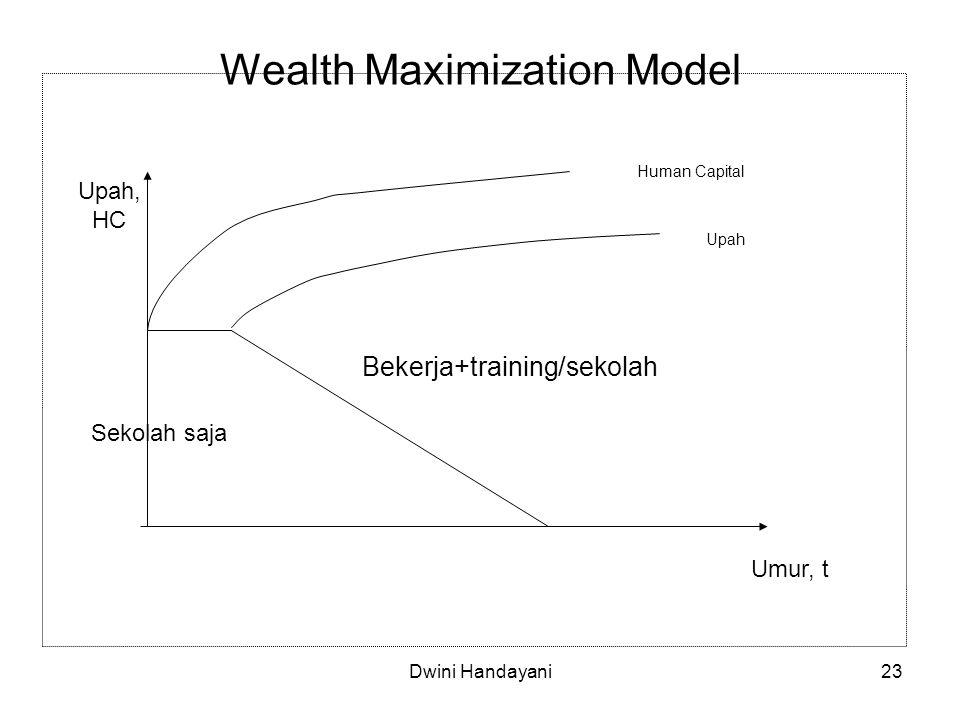 23 Wealth Maximization Model Bekerja+training/sekolah Sekolah saja Upah, HC Umur, t Human Capital Upah Dwini Handayani