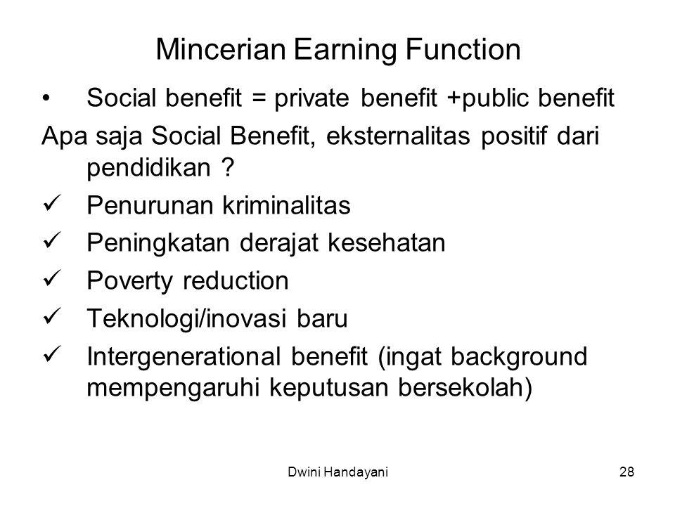 28 Mincerian Earning Function Social benefit = private benefit +public benefit Apa saja Social Benefit, eksternalitas positif dari pendidikan ? Penuru