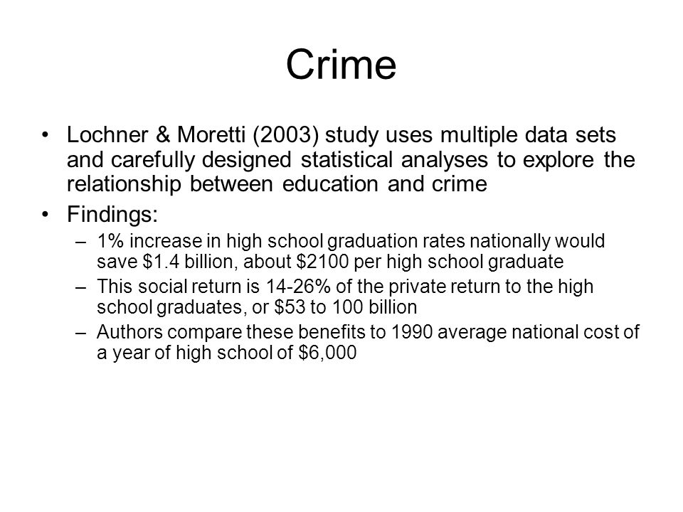 Crime Lochner & Moretti (2003) study uses multiple data sets and carefully designed statistical analyses to explore the relationship between education and crime Findings: –1% increase in high school graduation rates nationally would save $1.4 billion, about $2100 per high school graduate –This social return is 14-26% of the private return to the high school graduates, or $53 to 100 billion –Authors compare these benefits to 1990 average national cost of a year of high school of $6,000