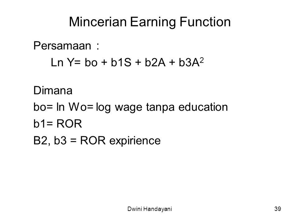39 Mincerian Earning Function Persamaan : Ln Y= bo + b1S + b2A + b3A 2 Dimana bo= ln Wo= log wage tanpa education b1= ROR B2, b3 = ROR expirience Dwin