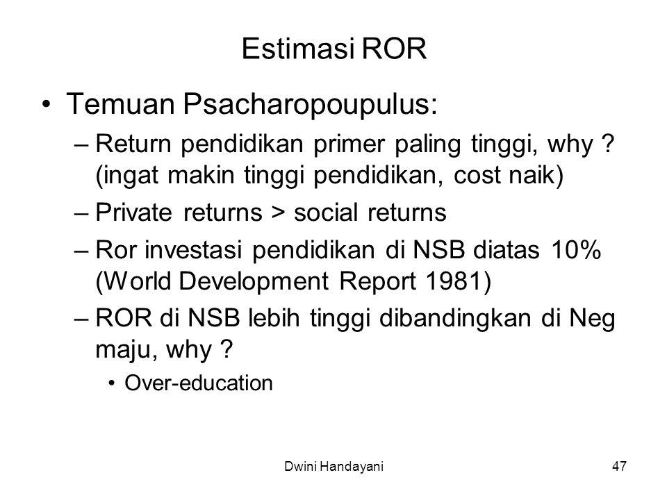 47 Estimasi ROR Temuan Psacharopoupulus: –Return pendidikan primer paling tinggi, why ? (ingat makin tinggi pendidikan, cost naik) –Private returns >