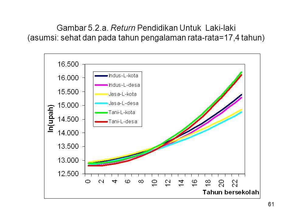 61 Gambar 5.2.a. Return Pendidikan Untuk Laki-laki (asumsi: sehat dan pada tahun pengalaman rata-rata=17,4 tahun)
