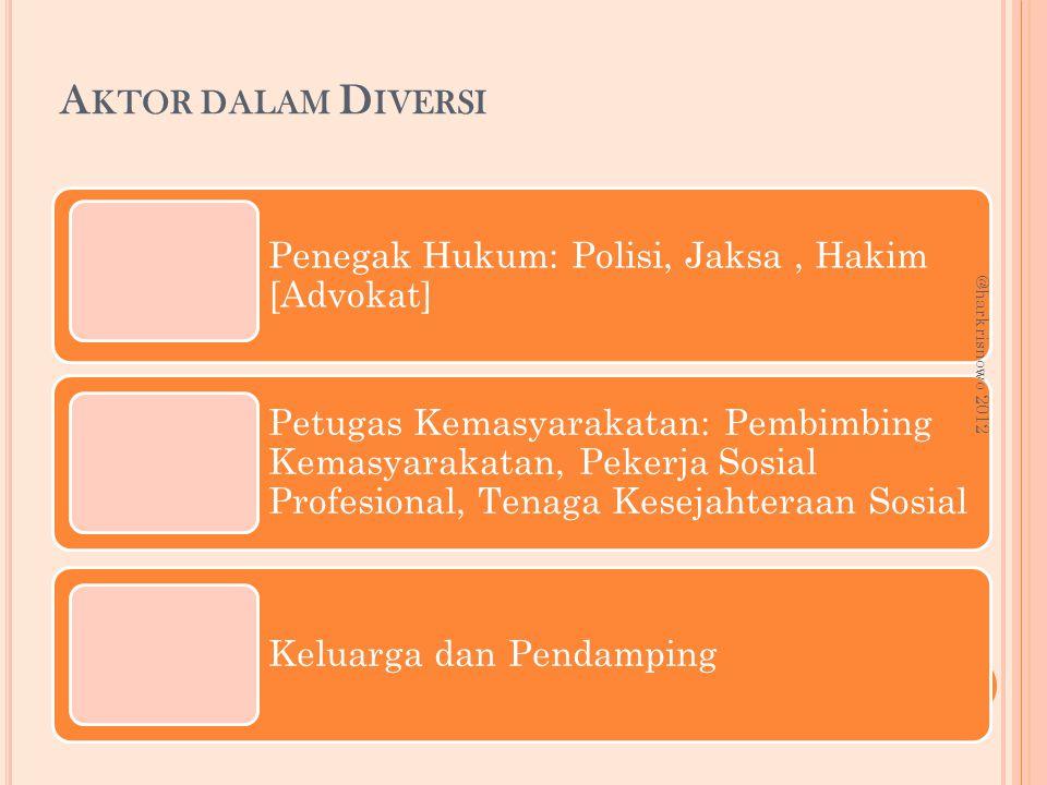 A KTOR DALAM D IVERSI Penegak Hukum: Polisi, Jaksa, Hakim [Advokat] Petugas Kemasyarakatan: Pembimbing Kemasyarakatan, Pekerja Sosial Profesional, Ten
