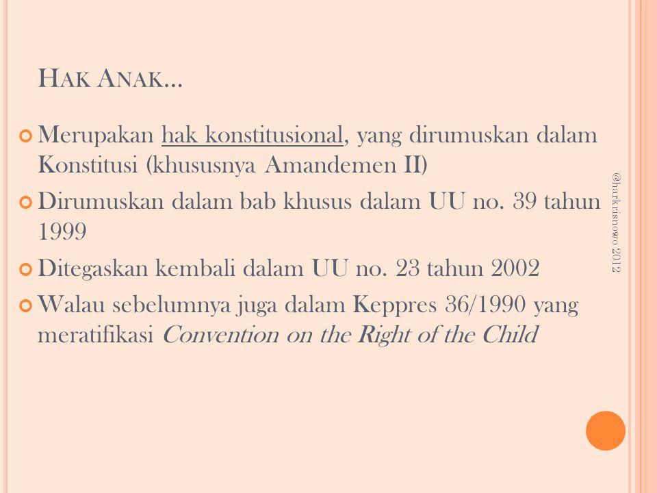 H AK A NAK … Merupakan hak konstitusional, yang dirumuskan dalam Konstitusi (khususnya Amandemen II) Dirumuskan dalam bab khusus dalam UU no. 39 tahun