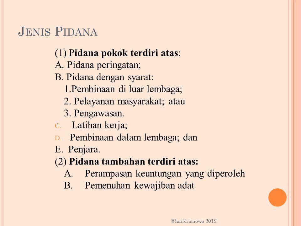 J ENIS P IDANA (1) Pidana pokok terdiri atas: A. Pidana peringatan; B. Pidana dengan syarat: 1.Pembinaan di luar lembaga; 2. Pelayanan masyarakat; ata