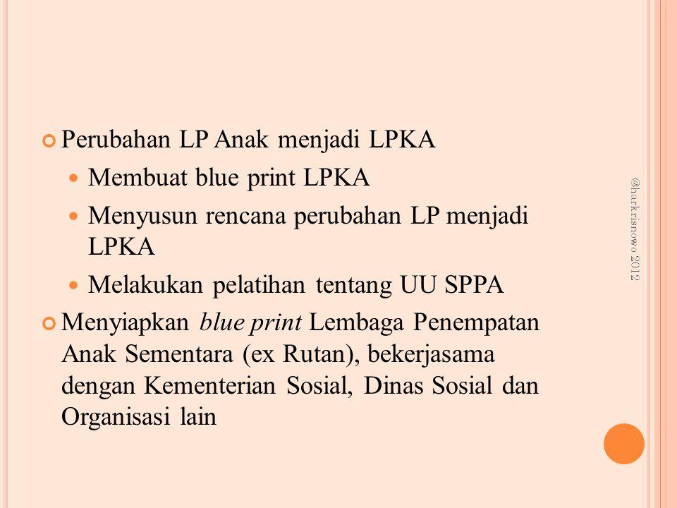 Perubahan LP Anak menjadi LPKA Membuat blue print LPKA Menyusun rencana perubahan LP menjadi LPKA Melakukan pelatihan tentang UU SPPA Menyiapkan blue