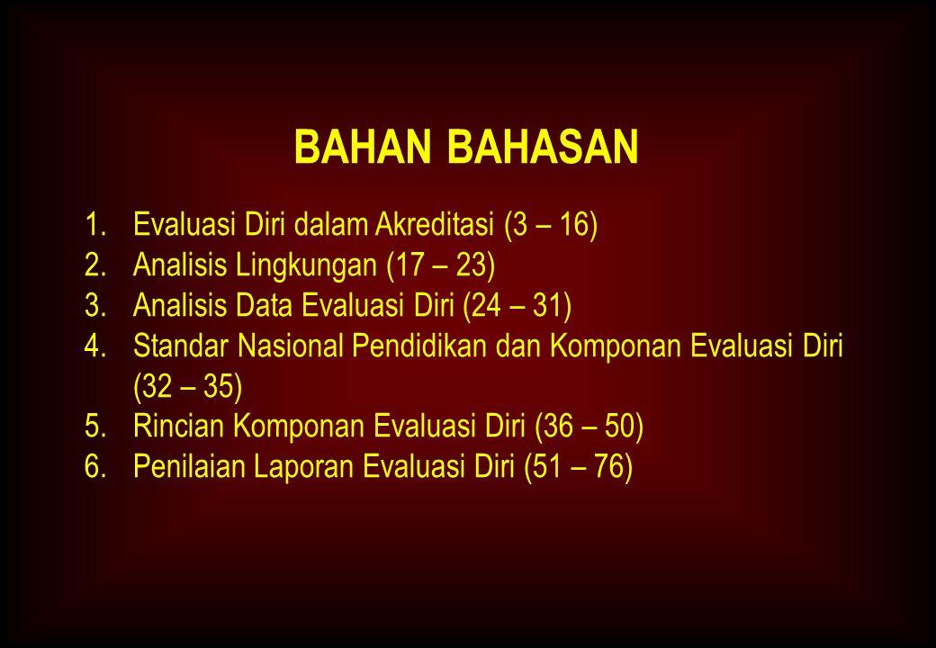 BAHAN BAHASAN 1.Evaluasi Diri dalam Akreditasi (3 – 16) 2.Analisis Lingkungan (17 – 23) 3.Analisis Data Evaluasi Diri (24 – 31) 4.Standar Nasional Pendidikan dan Komponan Evaluasi Diri (32 – 35) 5.Rincian Komponan Evaluasi Diri (36 – 50) 6.Penilaian Laporan Evaluasi Diri (51 – 76)