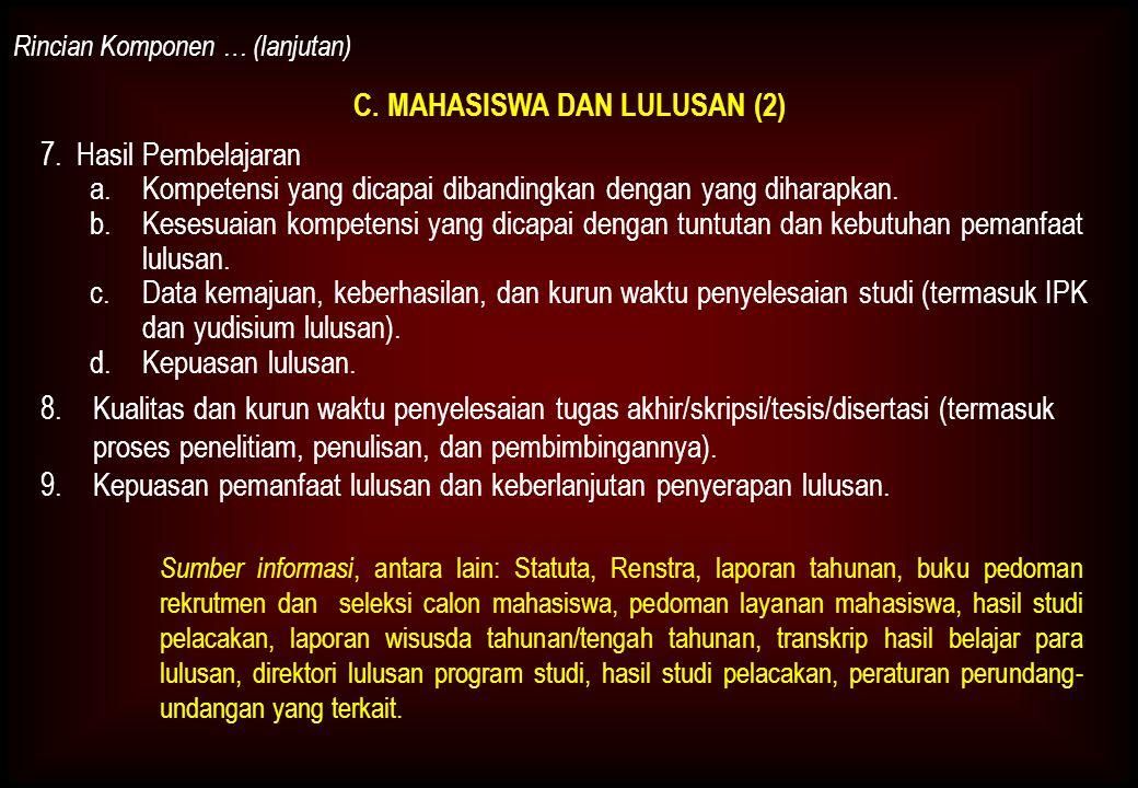 C.MAHASISWA DAN LULUSAN (2) Rincian Komponen … (lanjutan) 7.