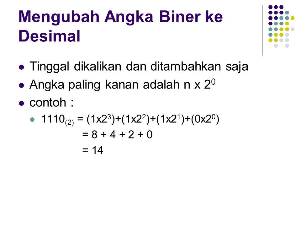 Mengubah Angka Biner ke Desimal Tinggal dikalikan dan ditambahkan saja Angka paling kanan adalah n x 2 0 contoh : 1110 (2) = (1x2 3 )+(1x2 2 )+(1x2 1