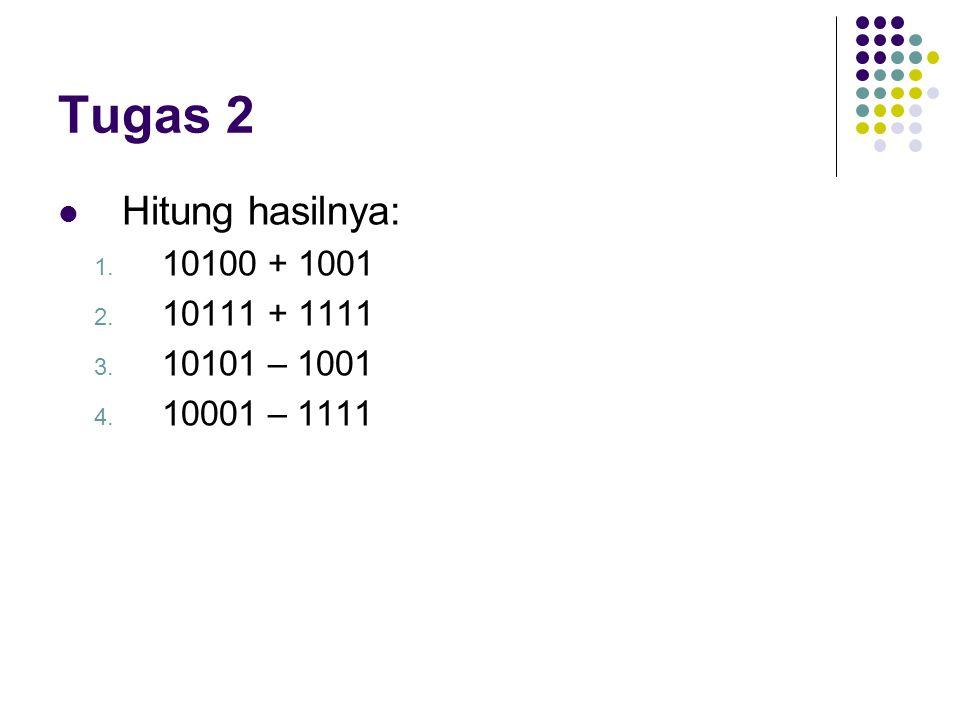 Tugas 2 Hitung hasilnya: 1. 10100 + 1001 2. 10111 + 1111 3. 10101 – 1001 4. 10001 – 1111