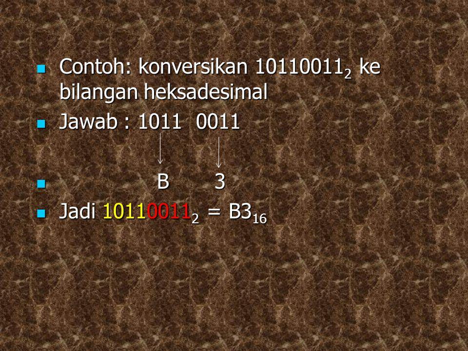 Contoh: konversikan 10110011 2 ke bilangan heksadesimal Contoh: konversikan 10110011 2 ke bilangan heksadesimal Jawab : 1011 0011 Jawab : 1011 0011 B