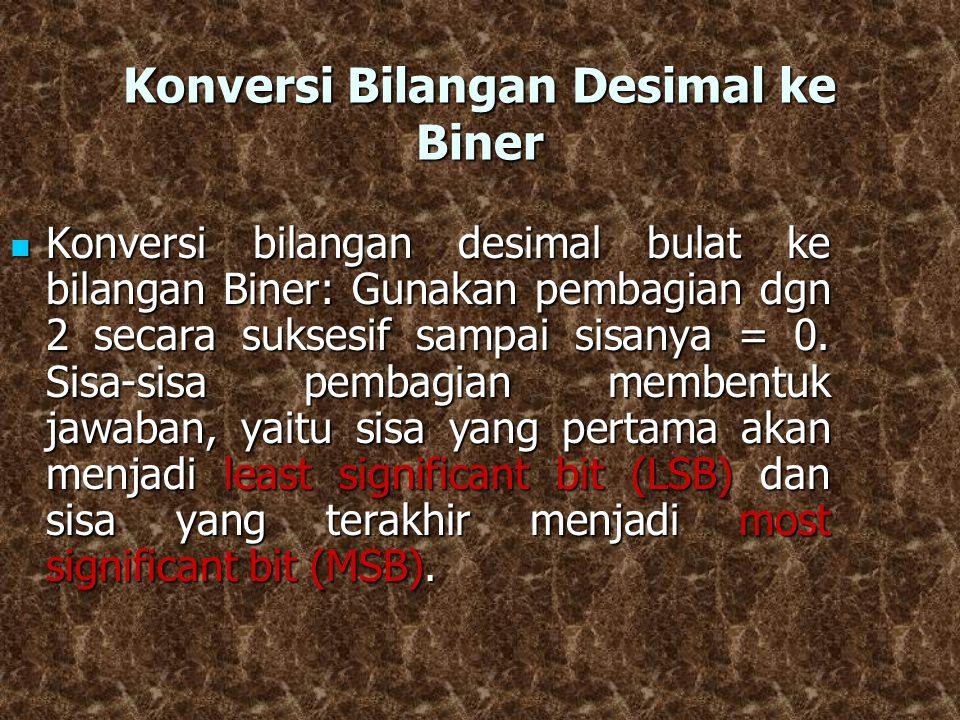 Konversi Bilangan Desimal ke Biner Konversi bilangan desimal bulat ke bilangan Biner: Gunakan pembagian dgn 2 secara suksesif sampai sisanya = 0. Sisa