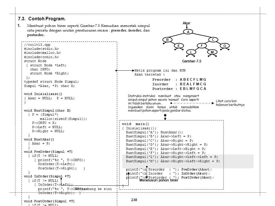 7.3. Contoh Program. 230 1. Membuat pohon biner seperti Gambar-7.5.Kemudian mencetak simpul satu persatu dengan urutan penelusuran secara : preorder,