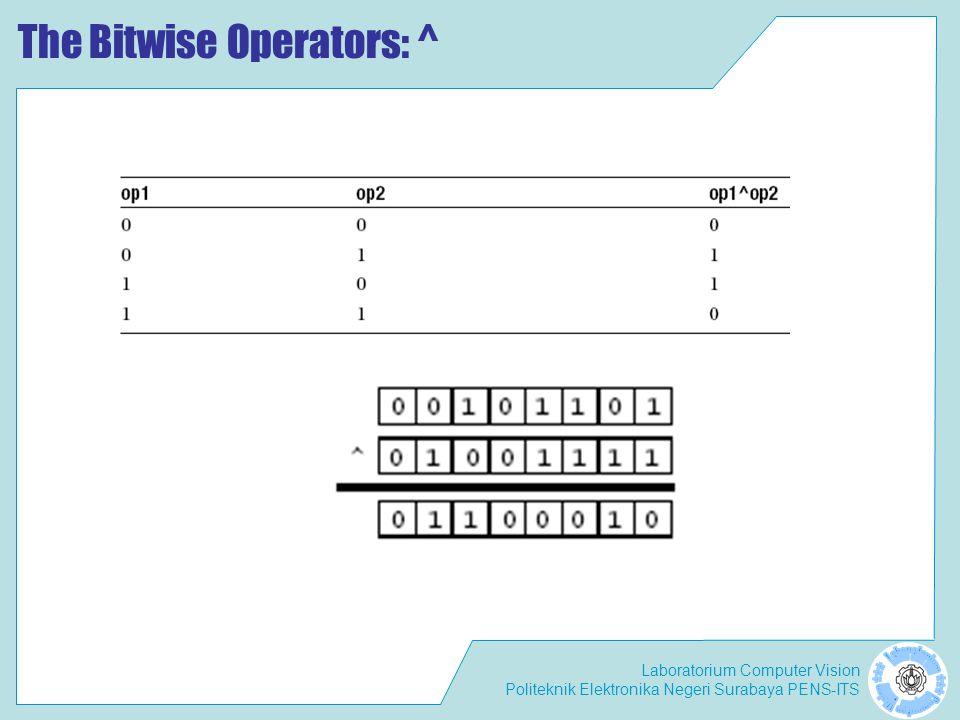 Laboratorium Computer Vision Politeknik Elektronika Negeri Surabaya PENS-ITS The Bitwise Operators: ^