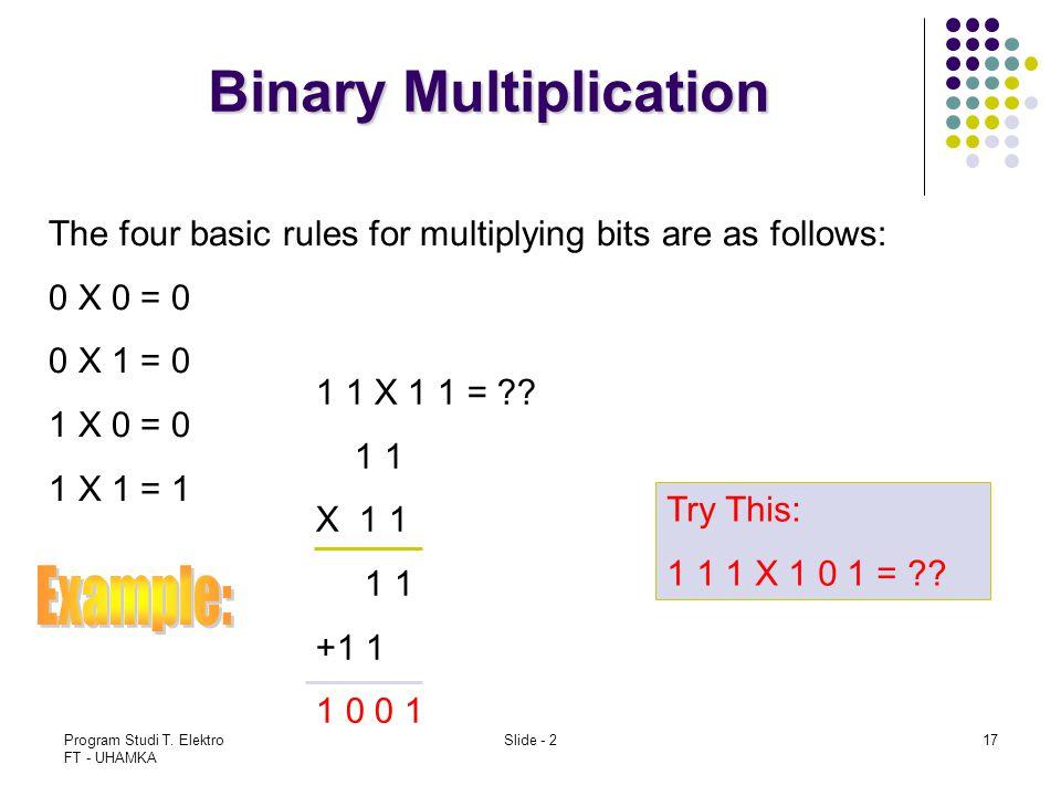 Program Studi T. Elektro FT - UHAMKA Slide - 217 Binary Multiplication The four basic rules for multiplying bits are as follows: 0 X 0 = 0 0 X 1 = 0 1