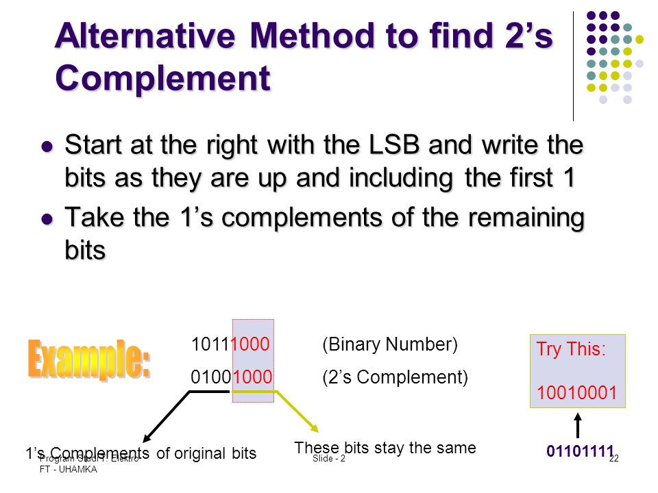 Program Studi T. Elektro FT - UHAMKA Slide - 222 Alternative Method to find 2's Complement Start at the right with the LSB and write the bits as they