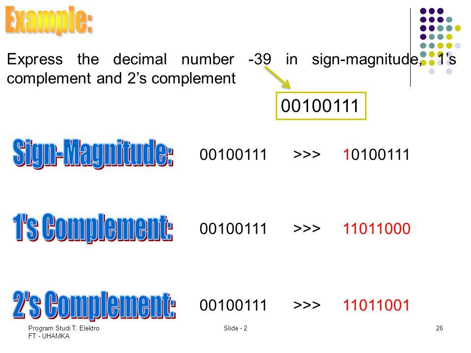 Program Studi T. Elektro FT - UHAMKA Slide - 226 Express the decimal number -39 in sign-magnitude, 1's complement and 2's complement 00100111 >>> 1010