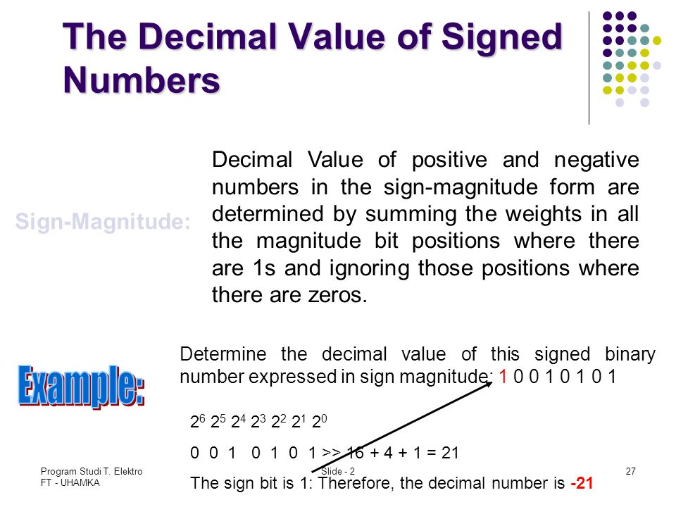Program Studi T. Elektro FT - UHAMKA Slide - 227 The Decimal Value of Signed Numbers Sign-Magnitude: Decimal Value of positive and negative numbers in